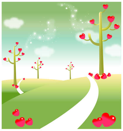 This illustration depicts a young child's dream world. Green landscape with heart shape on tree Stock Vector - 15901021
