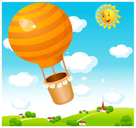 This illustration depicts a young child's dream world. Air balloon flying over town Stock Vector - 15881239