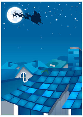 This illustration depicts a young child's dream world. Houses in a town and silhouette of reindeers over moon in the sky at night Vector