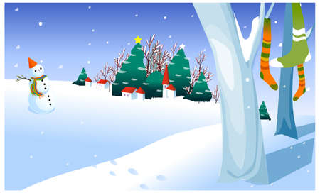 this illustration is the general nature of the winter landscape. Snowman in yard Vector