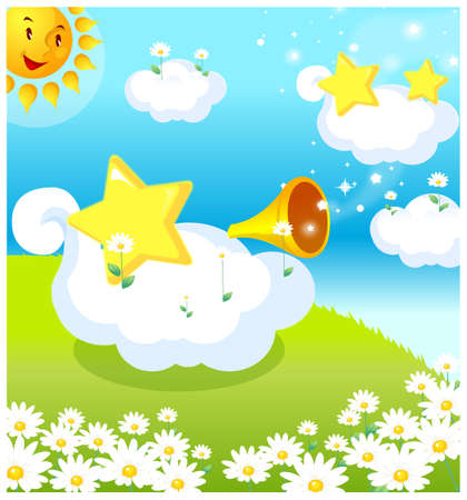 This illustration depicts a young child's dream world. Sun, clouds, and star making celebration Stock Vector - 15901326