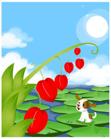 This illustration depicts a young child's dream world. Dog sitting on lotus leaf looking at chinese lantern lily Stock Vector - 15900959