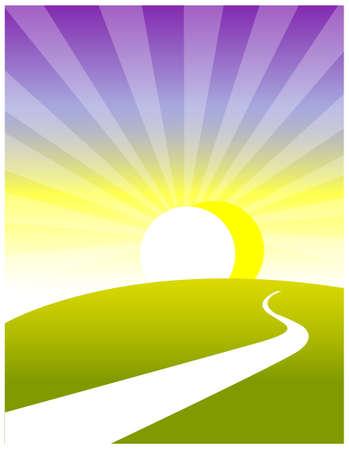 daybreak: Esta ilustraci�n representa a un ni�o peque�o mundo de ensue�o. Trayectoria curva de la tierra y la salida del sol Vectores