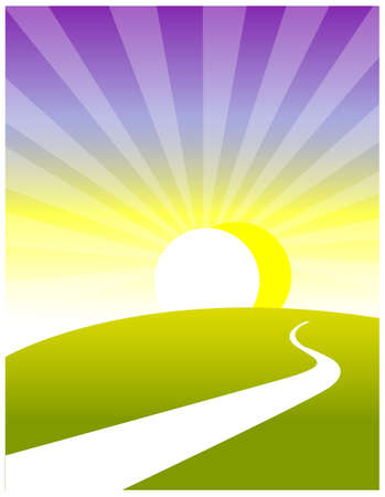 This illustration depicts a young childs dream world. Curved path over land and sunrise