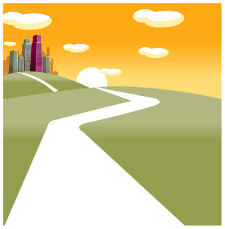 This illustration depicts a young child's dream world. Path towards city Stock Vector - 15880221