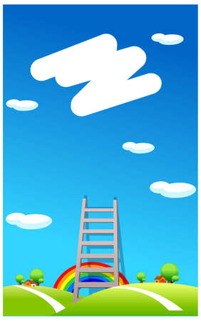 This illustration is a common cityscape. Ladder to the sky Stock Vector - 15880074