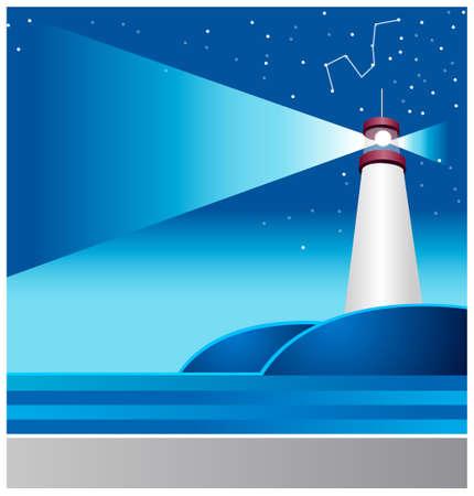 lighthouse at night: Esta ilustraci�n representa a un ni�o peque�o mundo de ensue�o. Faro y la astrolog�a signo en el cielo Vectores