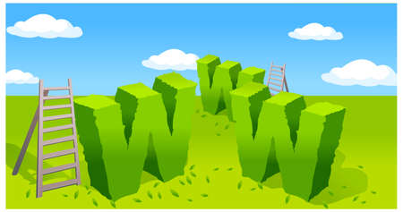 This illustration depicts a young child's dream world. Www symbol and ladder on green landscape Stock Vector - 15879915
