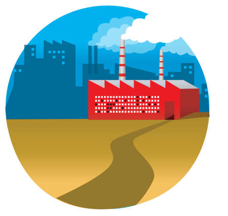 This illustration depicts a young child's dream world. Path leading to a factory Vector