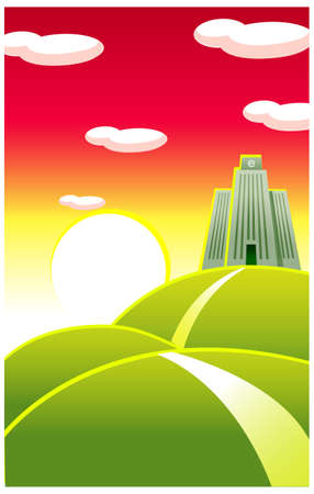This illustration depicts a young child's dream world. Electronic commerce sign over building Stock Vector - 15880283