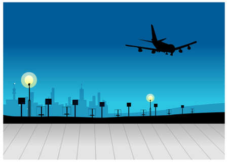 This illustration depicts a young childs dream world. City skyline with airplane flying in sky Vector