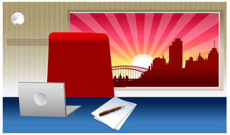 This illustration is a common cityscape. Laptop on a desk Stock Vector - 15880143