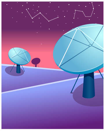 This illustration is a common cityscape. Satellite dishes and astrology sign in sky Stock Vector - 15881140