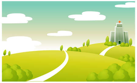 curved path: This illustration is a common cityscape. Hospital building on green landscape