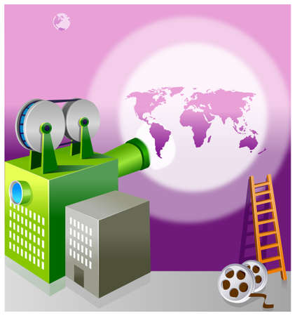 This illustration is a common cityscape. Video camera shape building heading toward the globe Vector