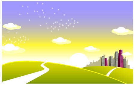 This illustration is a common cityscape. Green landscape and skyline  Stock Vector - 15880351
