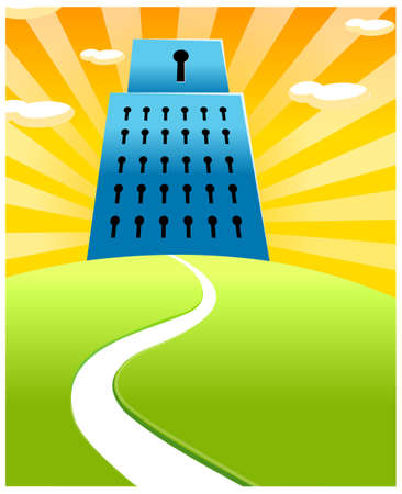 curved path: This illustration is a common cityscape. Building with key holes Illustration