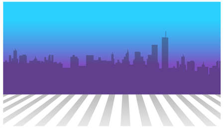 This illustration is a common cityscape. City skyline and zebra crossing in foreground Stock Vector - 15879728
