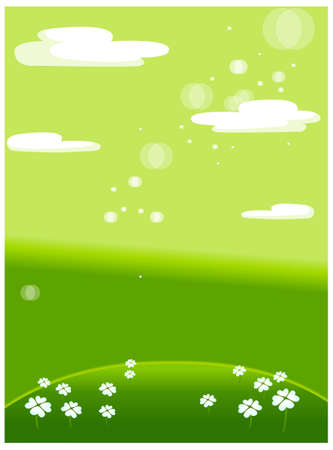 This illustration is a common natural landscape. Green meadow with white flowers Stock Vector - 15881076