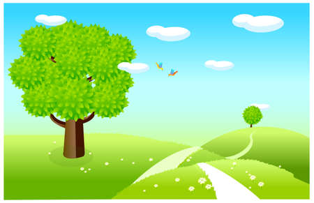 This illustration is a common natural landscape. Spring landscape with green fields Stock Vector - 15880346