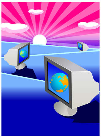 This illustration is a common cityscape. Computer screen with globe Vector