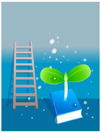 This illustration depicts a young child's dream world. Plant sapling growing from book  Stock Vector - 15880291