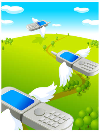 This illustration is a common cityscape. Flying cell phones Stock Vector - 15881077
