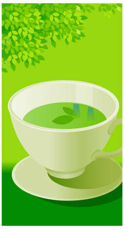 This illustration depicts a young child's dream world. Green Tea in a Cup and Saucer Vector