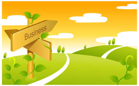 This illustration depicts a young child's dream world. Business Sign boards on Green landscape Stock Vector - 15879908