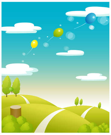 This illustration depicts a young child's dream world. Balloons flying over the Green landscape  Stock Vector - 15880415