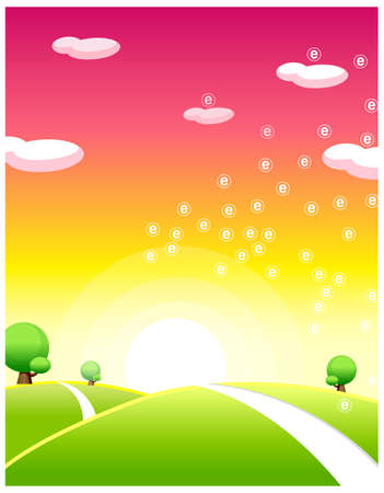 This illustration depicts a young child's dream world. Sunrise over green landscape Stock Vector - 15880285