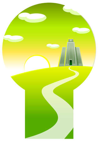 Keyhole through fields and buildings. path towards the Electronic commerce sign over building Stock Vector - 15880287