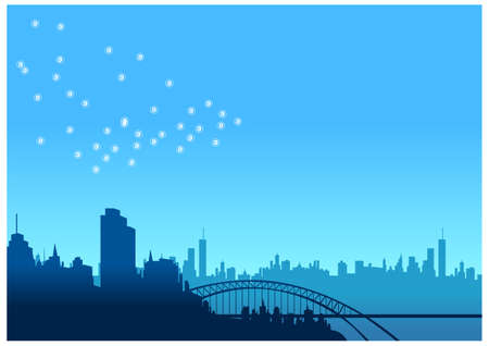 This illustration is a common cityscape. Urban Skyline With a Bridge Stock Vector - 15879820