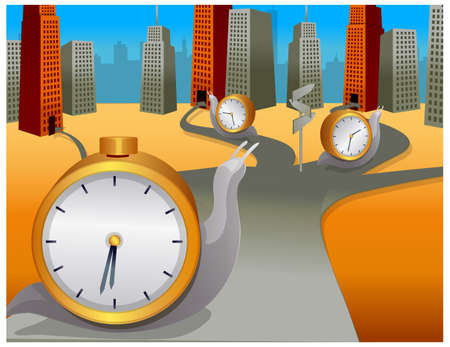 This illustration is a common cityscape. Snail with clock moving in different direction Stock Vector - 15881615