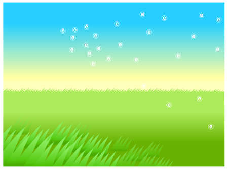 This illustration is a common natural landscape. Green Landscape With Blue Sky Stock Vector - 15879961