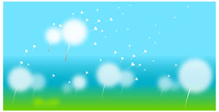 This illustration is a common natural landscape. Dandelion With Seeds Flying Away  Stock Vector - 15881703