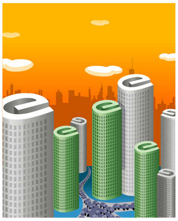 This illustration is a common cityscape. Road traffic with Skyscrapers with 'e' shape building Stock Vector - 15881072