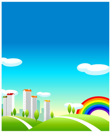 This illustration is a common cityscape. Green Landscape And buildings Vector