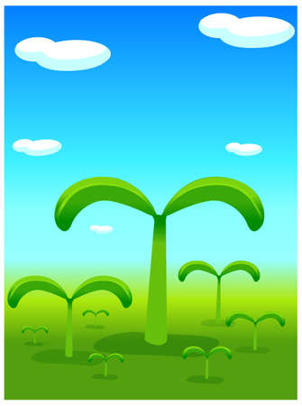 This illustration depicts a young child's dream world. Plants sprouting from landscape Stock Vector - 15880355