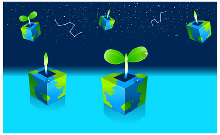 This illustration depicts a young child's dream world. Potted Seedling plant and astrology sign in sky Stock Vector - 15880982