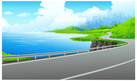 This illustration is a common cityscape. Road on the bank of the lake Stock Vector - 15901489