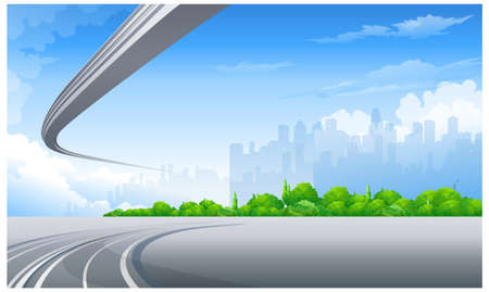 This illustration is a common cityscape. Freeway and City skyline Vector
