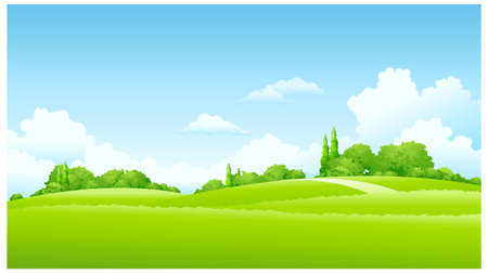 This illustration is a common natural landscape. Green Landscape  Stock Vector - 15887408