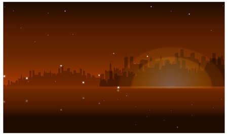 This illustration is a common natural landscape. Night Skyline Stock Vector - 15881192