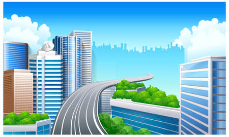This illustration is a common natural landscape. Overpass in City  Vector