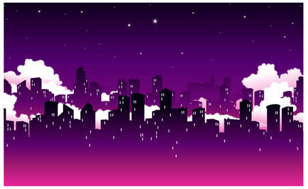 This illustration is a common natural landscape. City Skyline at Night Stock Vector - 15881525
