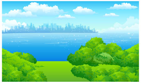 This illustration is a common natural landscape. City Skyline with Green landscape and waterfront Stock Vector - 15901091
