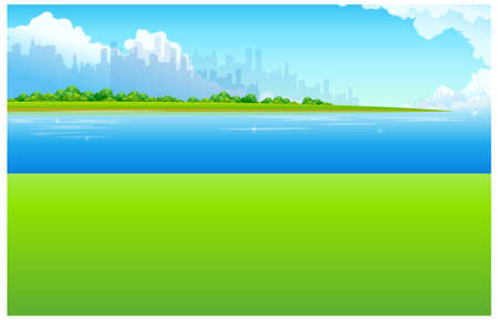 This illustration is a common natural landscape. City Skyline with Green landscape and waterfront Stock Vector - 15881824