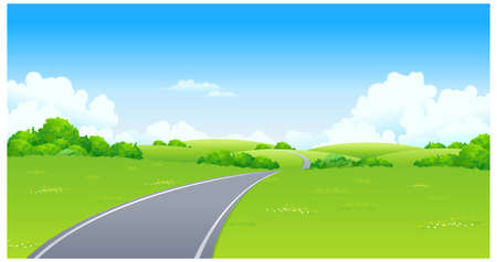 curved path: This illustration is a common natural landscape. Curved Road over green landscape