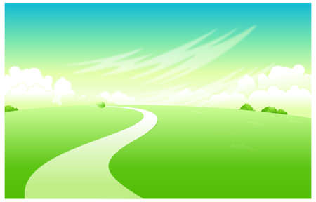 This illustration is a common natural landscape. Curved path over green landscape Stock Vector - 15881766